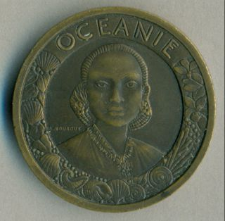 Art Deco International Colonial Exposition Oceanie 1931 Paris Medal By Mouroux photo