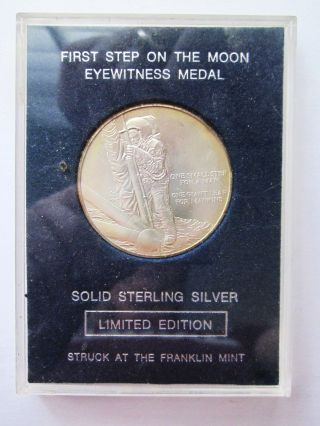 The First Step On The Moon Sterling Silver Coin Franklin Eyewitness Medal photo