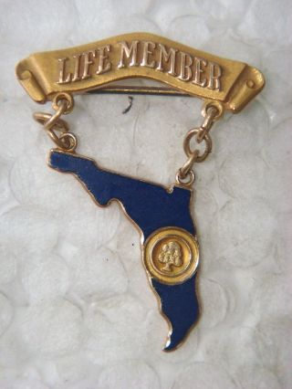 Gold Pin - Life Member (florida Pin With A Tree In The Center) photo