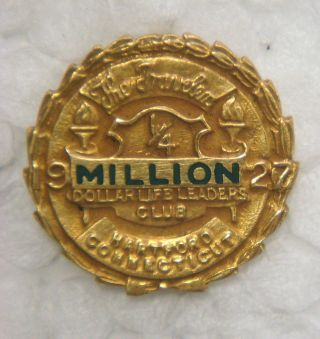 Gold Pin - The Travelers ¼ Million Dollar Club,  1927,  Hartford,  Connecticut photo