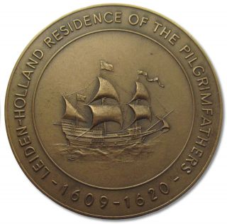 ++netherlands Bronze Medal Comm.  Stay Of The Pilgrim Fathers In City Of Leiden++ photo