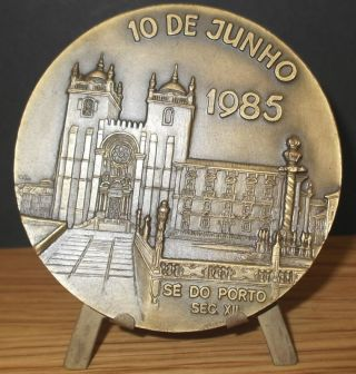Portugal Bronze Medal By Machado Poet Camoes Church Se Porto Portugal 80mm photo