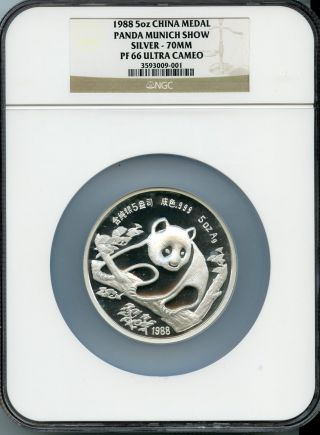 1988 5oz China Medal Panda Munich Show Silver Pf 66 Ultra Cameo | Ngc Graded photo