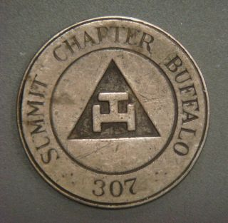Masonic Penny - Summit Chapter 307,  Buffalo,  One Penny C T Mark (silver) photo