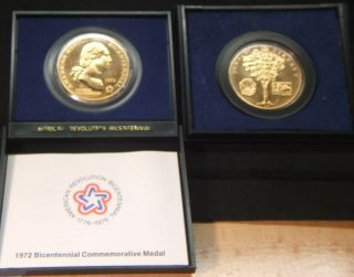 1972 American Revolution Bicent Medal George Washington Gov.  Packaging photo