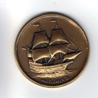 Vintage Mayflower Ii Brass Token photo