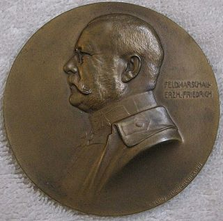 Field Marshal Archduke Friedrich Commemorative Medal,  1915 By Arnold Hartig photo