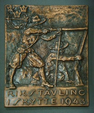 Swedish Plaque - Rikstävling I Skytte 1943 (national Shooting Competition In 1943) photo