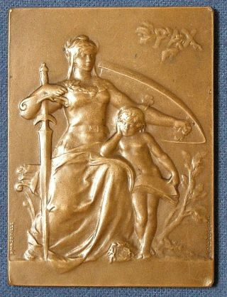 France.  Gallia With Child Commemorative Medal,  1908 By Andre Massoulle photo