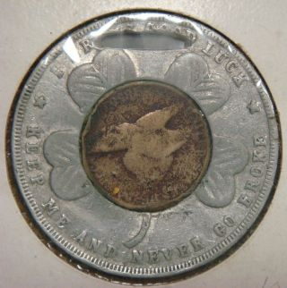 Watch Fob - Made From A Lucky Penny With An 1858 Flying Eagle Cent photo