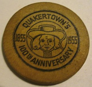 1955 Quakertown Pa 100th Anniversary Wooden Nickel photo
