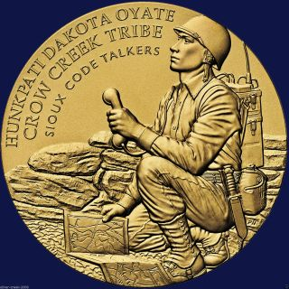 "Crow Creek Sioux Nation Tribe Code Talkers Wwi & Wwii 1.  5"" Bronze Medal photo"