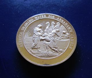 Religion Genesis Rebecca Waters Abrahams Camels Medallic Bible Bronze Medal photo
