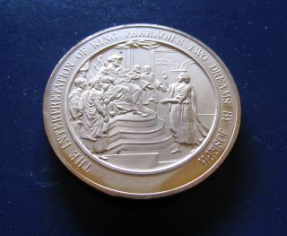Religion Genesis King Pharaoh ' S Dreams By Joseph Medallic Bible Bronze Medal photo