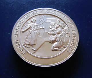 Religion Genesis Joseph Makes Himself Known Medallic Bible Bronze Medal photo