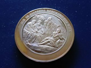 Bible Job 2,  Job In Distress Rebuking His Wife Thomason Medallic Bronze Medal photo