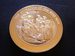 Religion Bible Matthew Adoration Of The Wise Men Medallic Bronze Medal photo