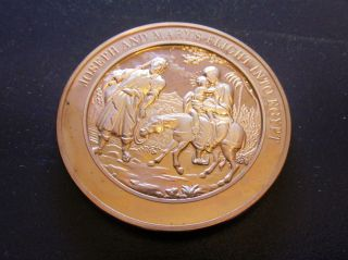 Religion Bible Matthew Joseph & Mary ' S Flight Into Egypt Medallic Bronze Medal photo