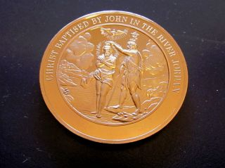 Bible Mark 1 Christ Baptised By John In The River Jordan Medallic Bronze Medal photo