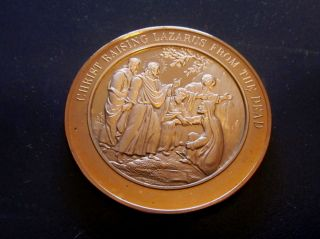 Bible John Ii Christ Raising Lazarus From The Dead Medallic Bronze Medal photo