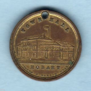 Australia.  Hobart Tasmania. .  1897 Diamond Jubilee Medallion.  Gilt 24mm. .  Aef/ef photo