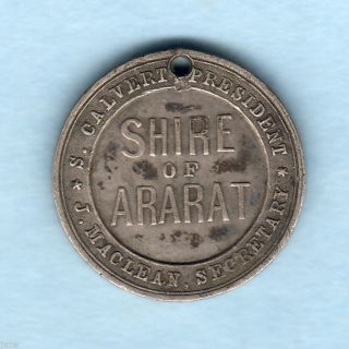 Australia.  Ararat Vic. .  1897 Diamond Jubilee Medallion.  Silver 22mm. .  Gvf photo