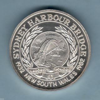 Australia.  1982 Sydney Harbour Bridge - 50th Anniv Silver Medallion. .  By A.  N.  S. photo