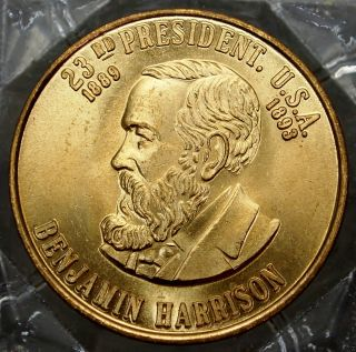 Benjamin Harrison 23th President Of The U.  S.  A.  Brass Collectors Token. . .  9651 photo