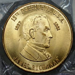 James Buchanan 15th President Of The U.  S.  A.  Brass Collector Token. . .  9657 photo