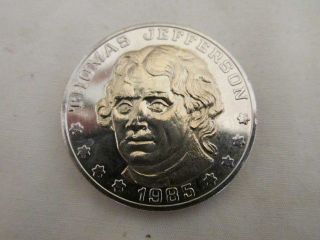 Vintage Thomas Jefferson Commemorative Medal 185 Year Anniversary 1985 Exc photo