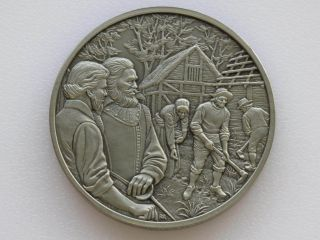 John Smith Jamestown Antique Pewter Medal Franklin Colonial America D1810 photo