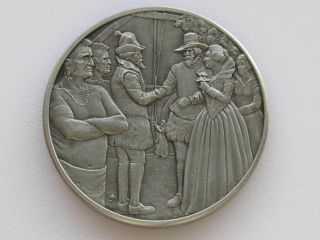 John Rolfe Marries Pocahontas Antique Pewter Medal Franklin D1812 photo