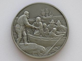 Pilgrims Landing At Plymouth Antique Pewter Medal Franklin D1813 photo