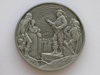 Leonard Calvert Antique Pewter Medal Franklin Colonial America D1816 photo