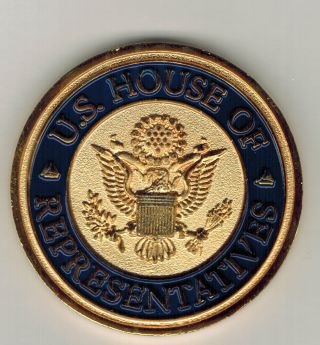 U.  S House Of Representatives Colorized Bronze Medal With Plastic Holder Unc photo