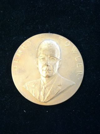Henry H.  Fowler Bronze Medallion 1965 photo