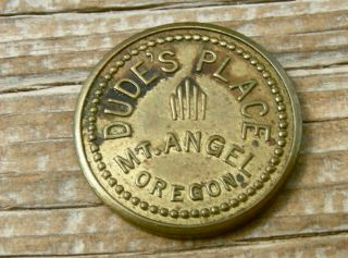 1900s Mount Angel Oregon Or.  (marion Co) Old Brass 5c