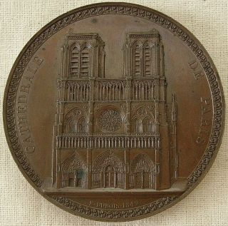 Notre Dame Cathedral,  Paris Medal,  1842 By Etienne - Jacques Dubois photo