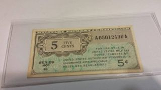 1946 - 47 5 Cent Series 461 Replacement Military Payment Certificate photo