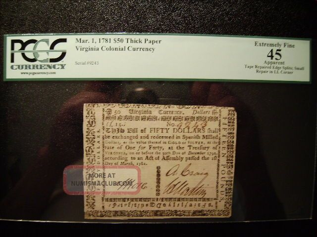 1781 Virginia Colonial Currency $50 Dollars Pcgs Certified Ef45 Paper Money: US photo