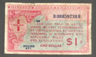 $1 Us Military Payment Certificate 471 Mpc France Germany England Eu Old Money photo