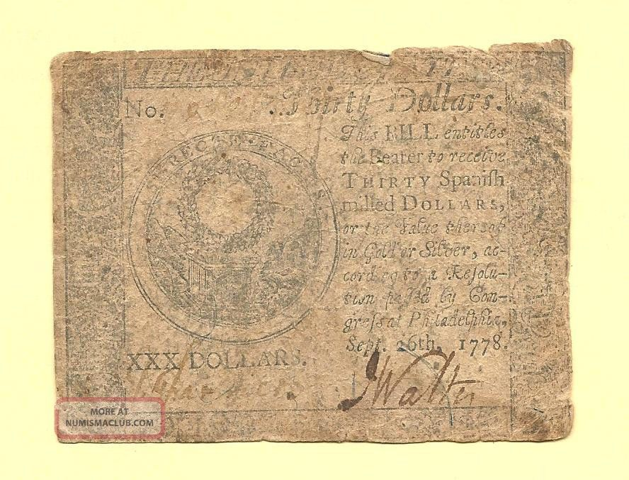 1778 $30 Continental Currency Early Colonial History Fine Collectible Paper Money: US photo