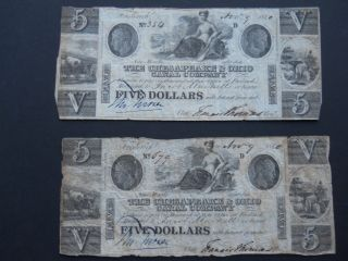 Two 1840 $5 Chesapeake And Ohio Canal Currency - Frederick,  Maryland photo