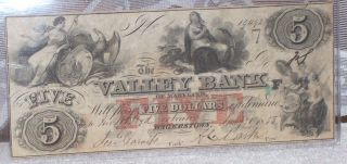 1855 $5 The Valley Bank Of Maryland,  Hagerstown Note - photo