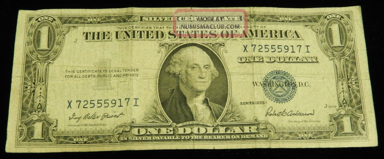 1 Silver Certificate 1935 Washington Currency Bill Old Rare Paper