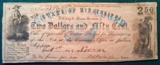 1862 Cotton Pledged State Of Mississippi $2.  50 Note photo