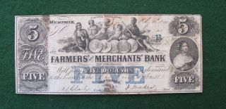 Farmers And Merchants Bank Of Memphis,  Tn $5 Obsolete Note: photo