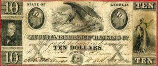 United States (usa) 10 Dollars 1843 F  Augusta Insurance & Banking Co photo
