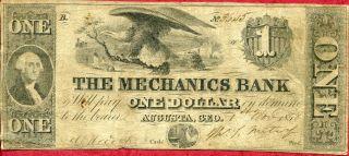 United States (usa) 1 Dollar 1858 F  The Mechanics Bank photo