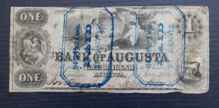 Bank Of Augusta Georgia $1 One Dollar Note 1867 - Obsolete photo